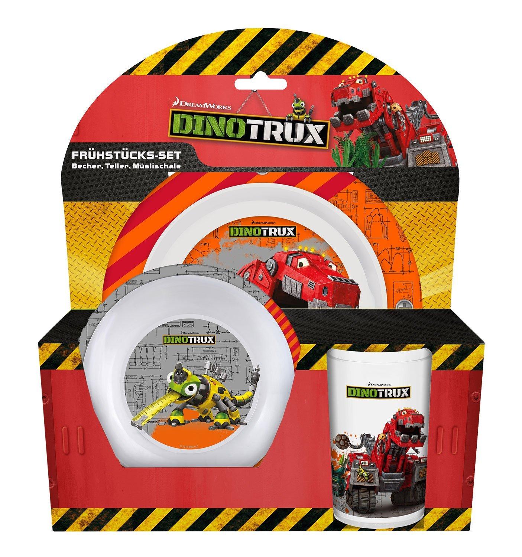 p:os 25413 DreamWorks Dinotrux Frü hstü cksset, Teller, Schü ssel und Becher, 3 teilig