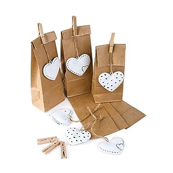 b57f3202d Logbuch-Verlag - Bolsas de Papel para Regalos (6 Unidades, 7 x 4 x 20 cm),  diseño de corazón, Color marrón: Amazon.es: Juguetes y juegos