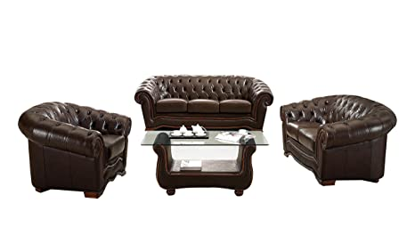 Amazon Com Esf Modern 262 Full Brown Italian Leather Sofa Set