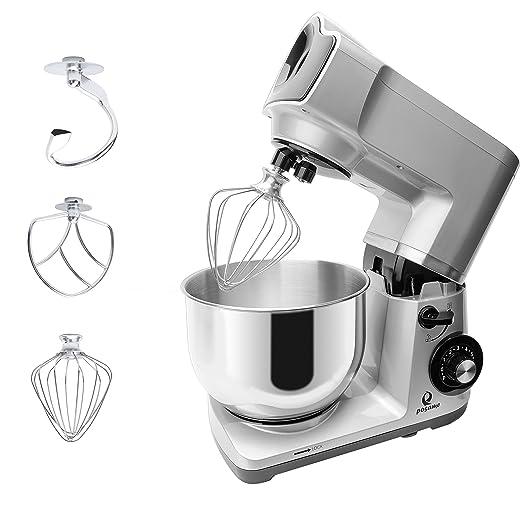 posame 1200 W Robot de cocina con cuenco de acero inoxidable, 5 L, protección contra salpicaduras, batidor, gancho para mezclar y gancho para amasar, 6 de studige velocidad regulable - Plata: Amazon.es: Hogar