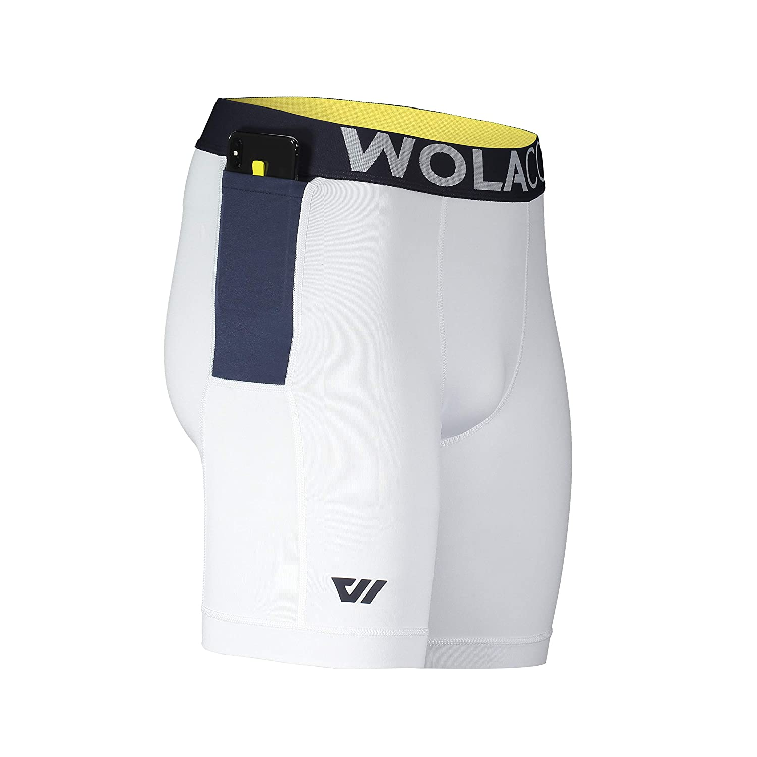 West Side White X-Large WOLACO North Moore Compression Shorts - 9  Inseam - Compact Sports Activewear - Made in America