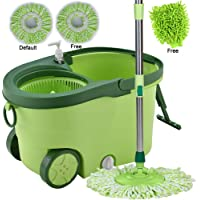 Smile mom Spin Mopper Floor Cleaner with Bucket Set with Big Wheels for Best 360 Degree Easy Magic Cleaning; 2 Refill Head and Microfiber Glove (Green)