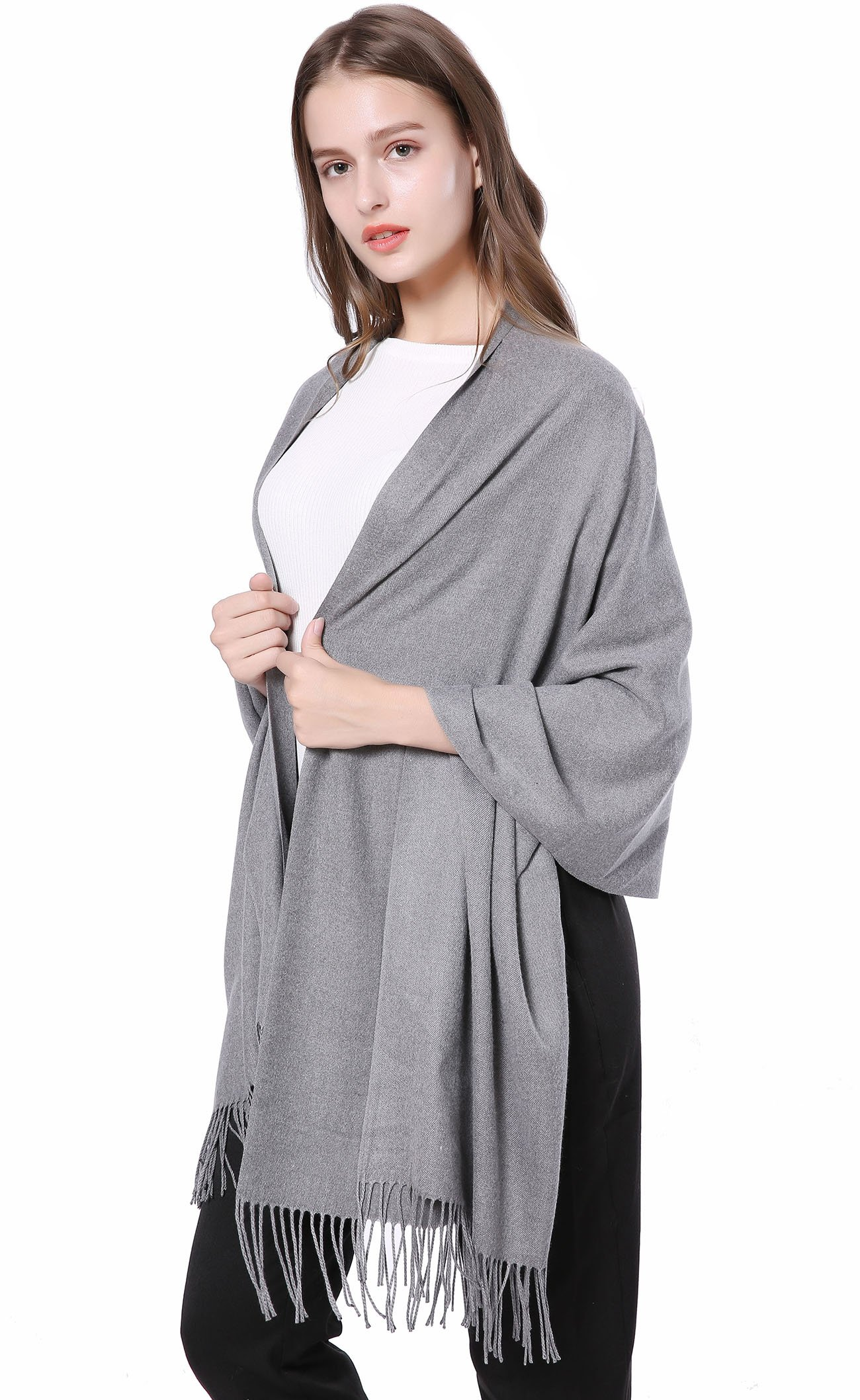 JAKY Global Cashmere Scarf Pashminas Wraps Shawl Super Soft and Warm 70'' x 27'' Scarves Women Men(Grey) by JAKY-Global