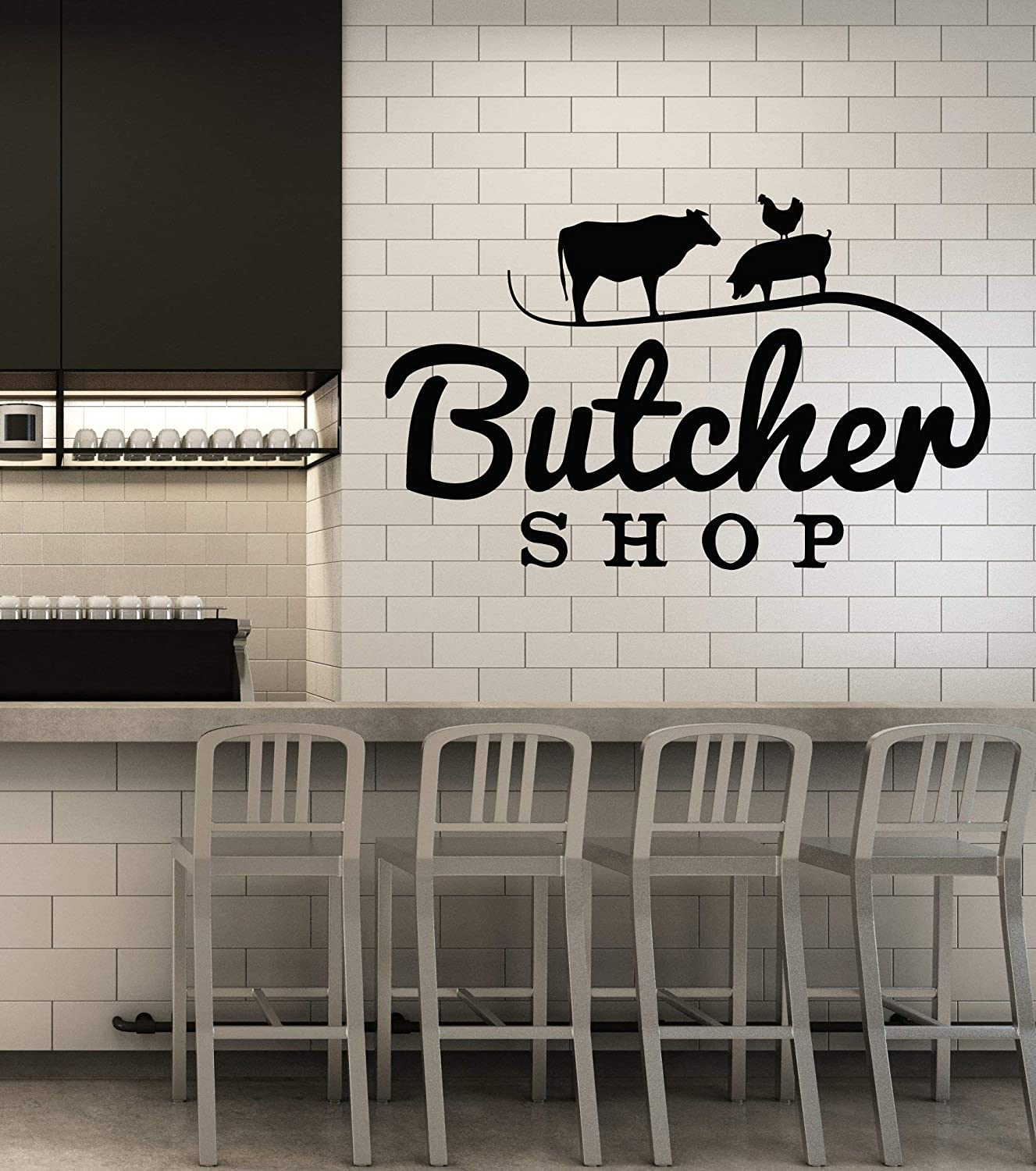 Vinyl Wall Decal Butcher Shop Animals Cow Pig Chicken Meat Stickers Mural Large Decor (g2816) Black