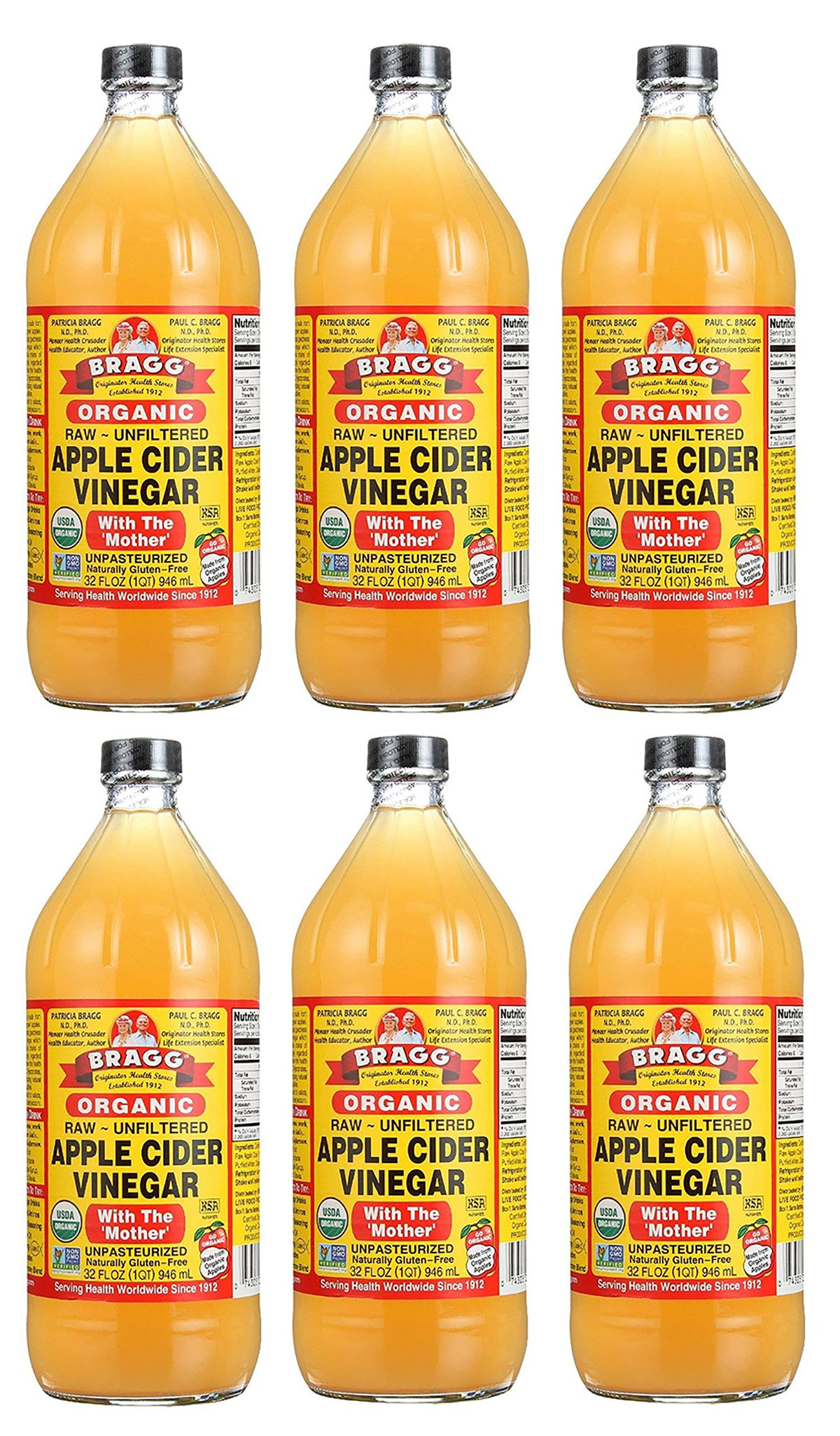 Bragg Usda Organic Raw Apple Cider Vinegar,32 OZ, 6 Pack