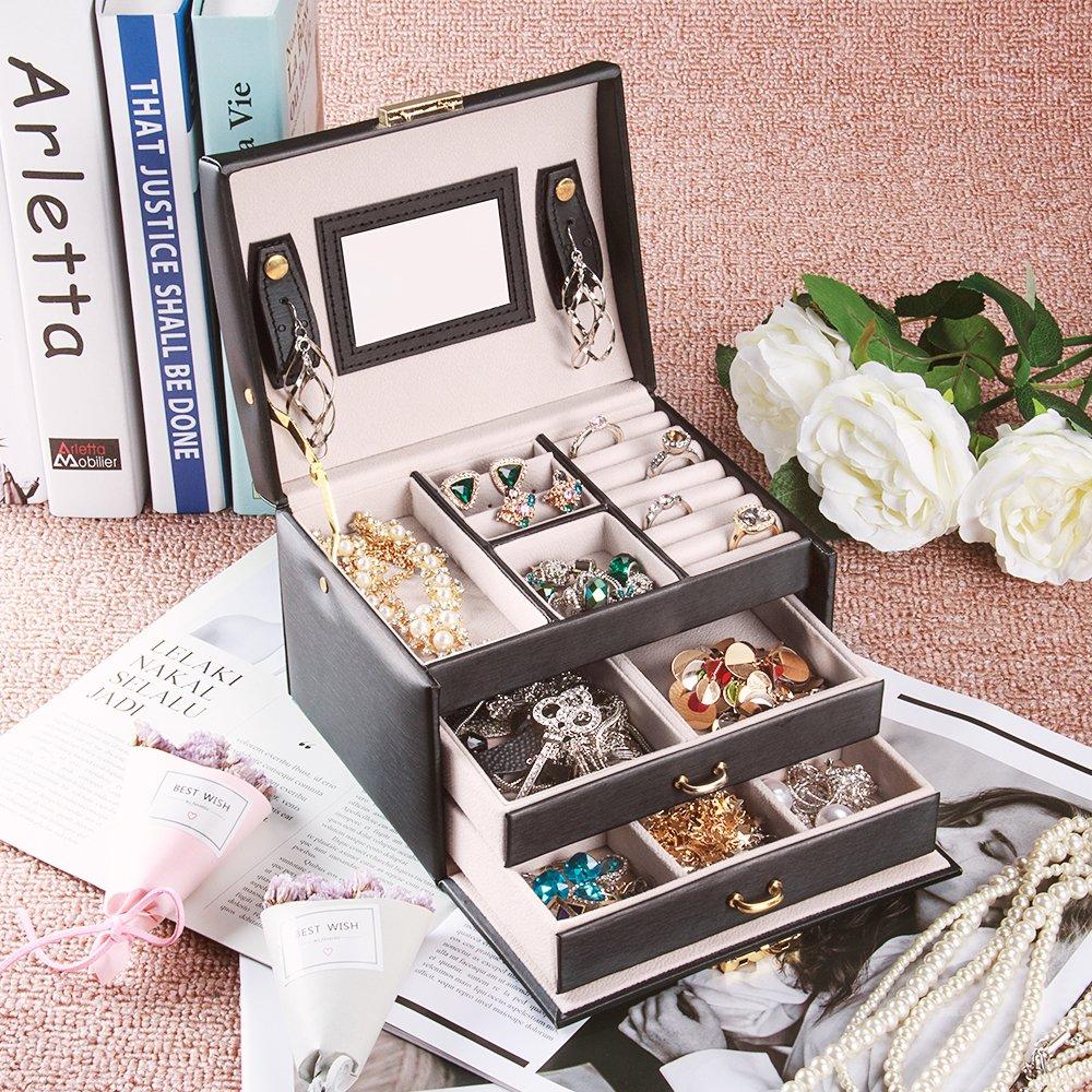 Caja Joyero con Espejo Caja para Joyas joyero Caja de Joyas Organizador de Joyas Caja de Relojes Caja para Relojes Blanco