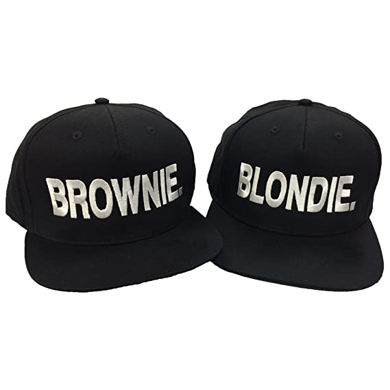 1d9afed02 Blondie Brownie Pair Embroidered Rapper Cap Set Black