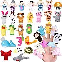 Joinfun 38pcs Finger Puppets Set para niños Juguetes de Mano Animales de la Historieta 32pcs 6pcs Gente Marionetas de Miembros de la Familia para bebés Infantes Niños pequeños Cuento Educativo Hora