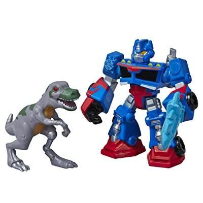 Playskool Heroes Transformers Rescue Bots Optimus Prime and T-Rex Figure Pack: Toys & Games