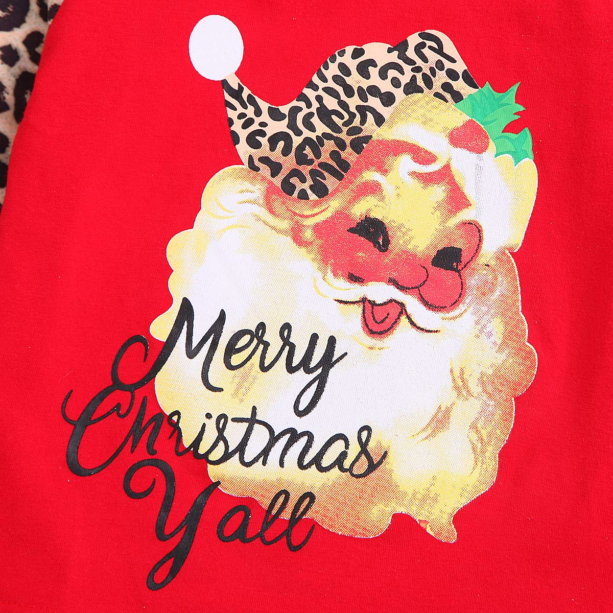 ZOELNIC Christmas Family Matching Tops Mother and Daughter Matching Shirt Leopard Print Clothes