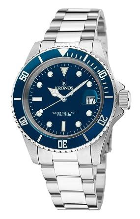 KRONOS - Sport Q 200MTS Black 977.8.65 - Reloj Diver de Caballero de Cuarzo, Brazalete de Acero, Color Esfera: Azul: Amazon.es: Relojes