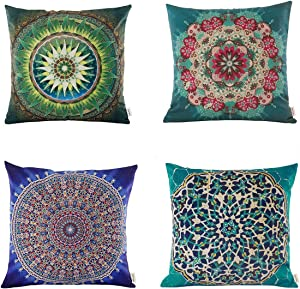"""Jartinle Set of 4 Retro Floral Mandala Compass Medallion Bohemian Boho Style Summer Decor Cushion Case Decorative for Sofa Couch 18"""" x 18"""" Inch Cotton Line (Moroccan Style)"""