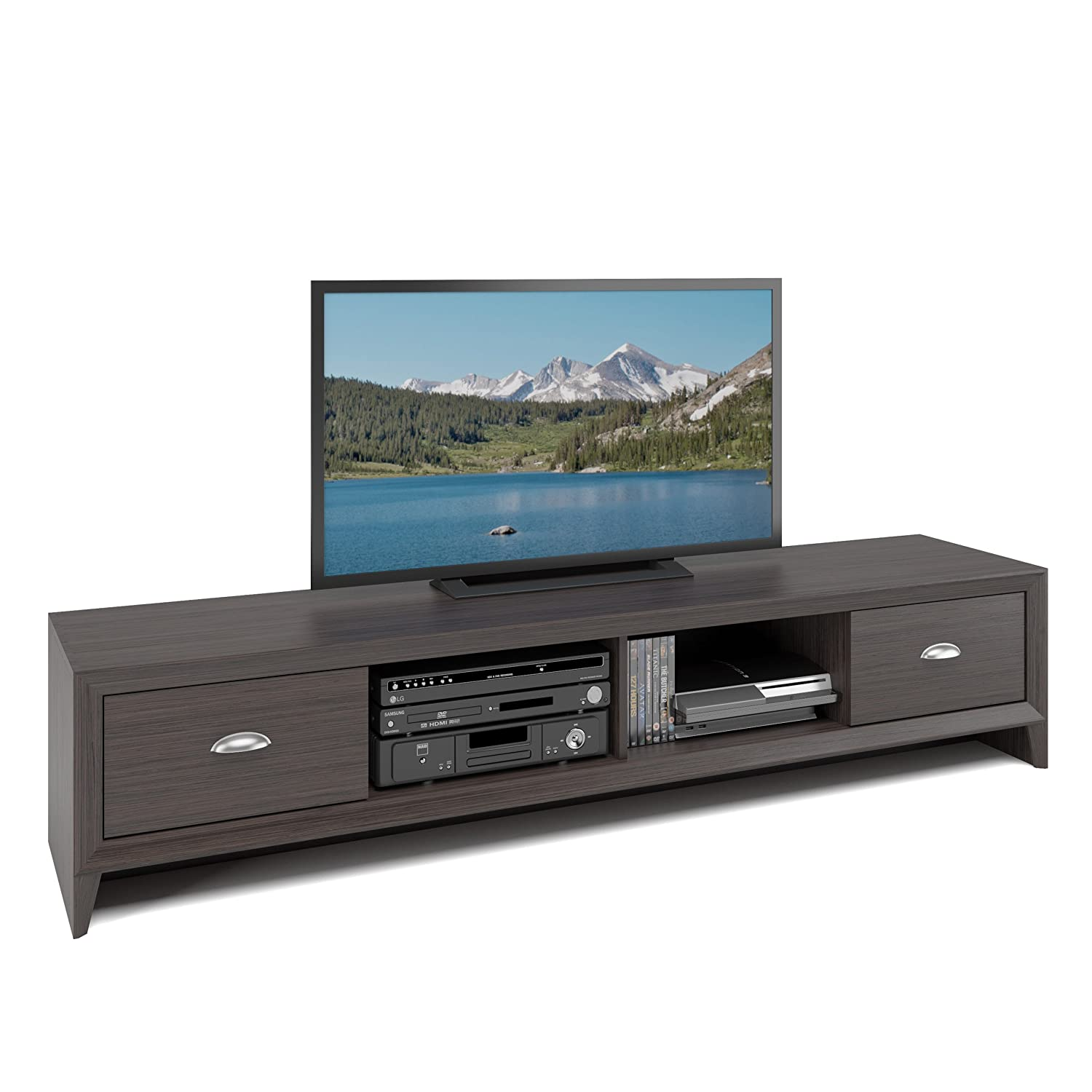 CorLiving TLK-872-B Lakewood Extra Wide TV Bench in Modern Wenge Finish Corporate Images