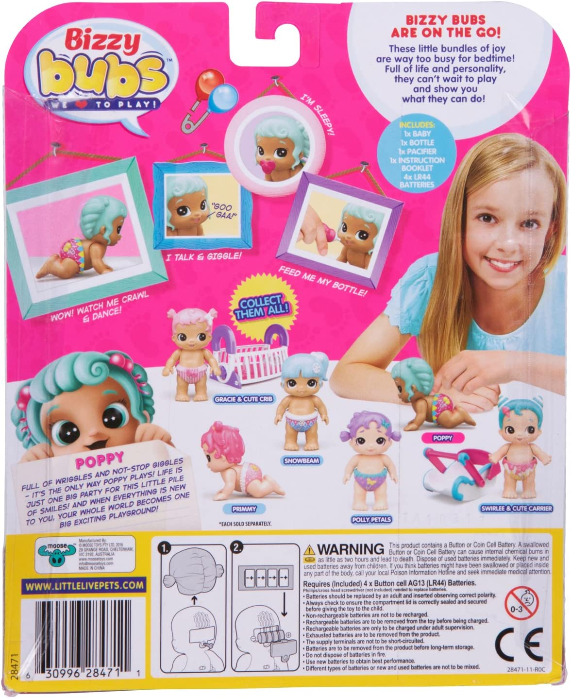 Little Live Bizzy Bubs Cute Crib Baby Doll