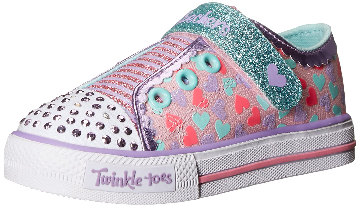 Amazon.com | Skechers Kids Shuffles-Shimmer Pop Light-Up Sneaker (Toddler),  Pink/Multi, 5 M US Toddler | Sneakers
