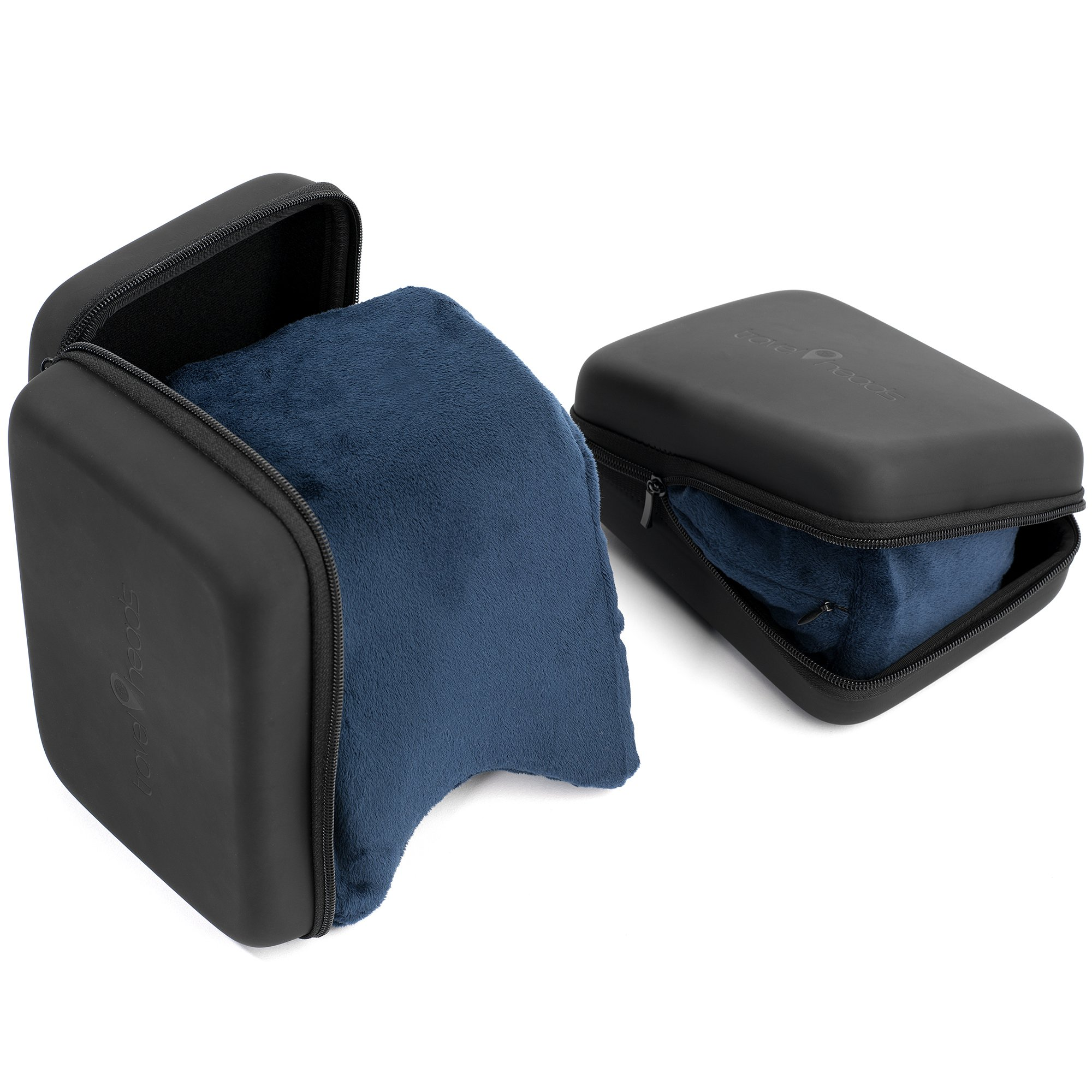 Travel Pillow | Memory Foam Side Sleeper Pillow for Airplane, Car, Bus or Train - Best Travel Pillow for Isle, Middle & Window - Neck Pillow (Blue w/ Hard Case)