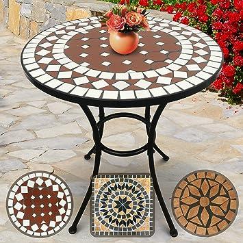 Table de Jardin Mosaïque | Ronde, Ø/H: 60x70cm, Rouge-Blanc | Design au  Choix | Table Guéridon, Bistrot, Terrasse, Balcon