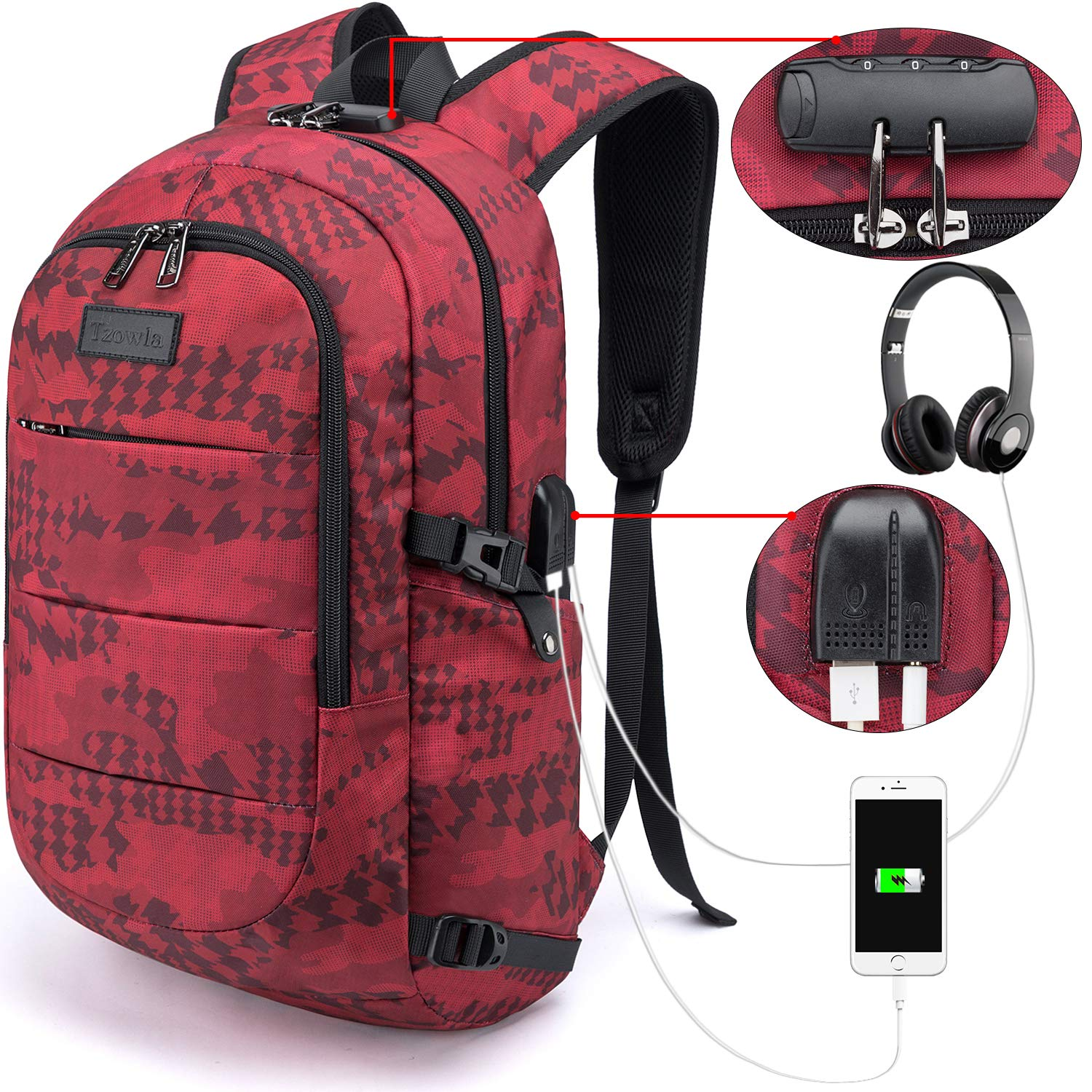 A-Black Casual Hiking Travel Daypack Tzowla Business Laptop Backpack Water Resistant Anti-Theft College Backpack with USB Charging Port and Lock 15.6 Inch Computer Backpacks for Women Men