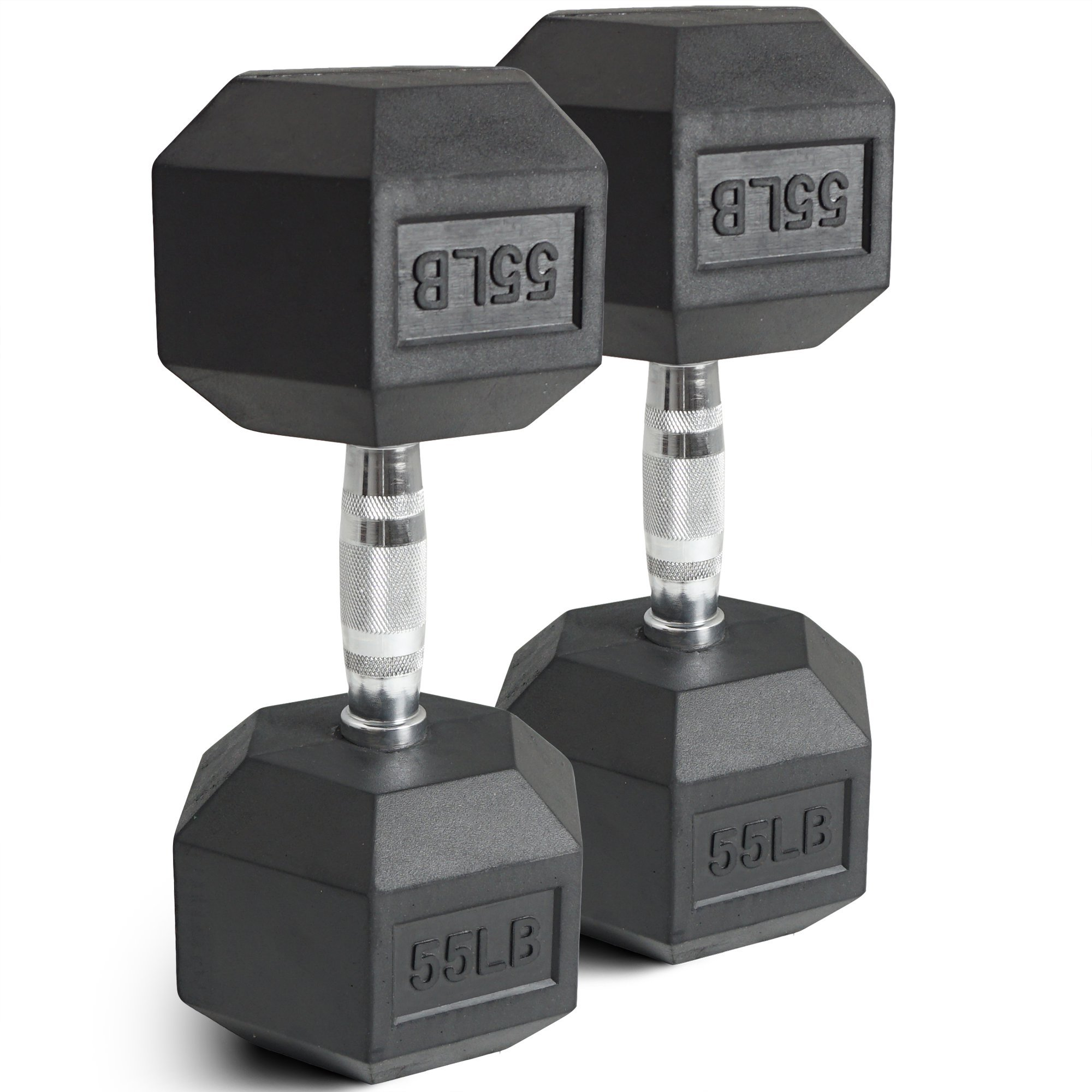 Pair 55 lb Black Rubber Coated Hex Dumbbells Weight Training Set 110 lb Fitness by Titan Fitness (Image #2)
