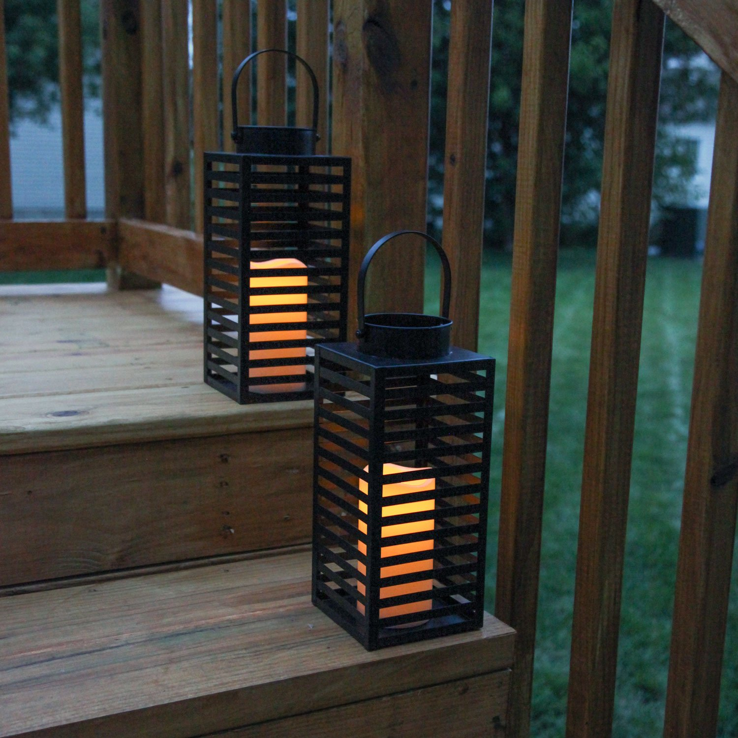 Flameless Black Candle Lanterns with Warm White LEDs, Metal Slat Design, Timer Option and Batteries Included - Set of 2 by LampLust