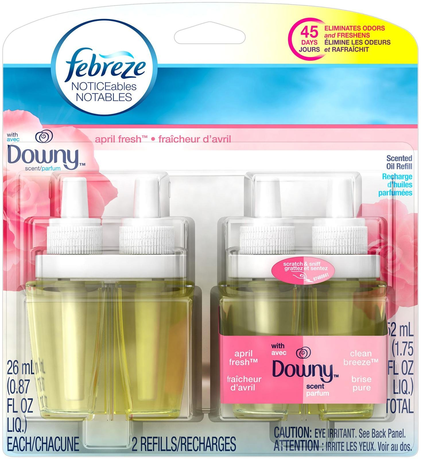 Febreze Noticeable With Downy April Fresh Scent Dual Oil Refill Air Freshener (2 Count, 1.75 Oz), 0.11 Pound