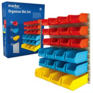 Marko Storage Solutions Tool Organiser Bin Plastic Kit Storage Wall Unit Parts Bins Shelving Garage DIY (25PC Organiser Bin Set)