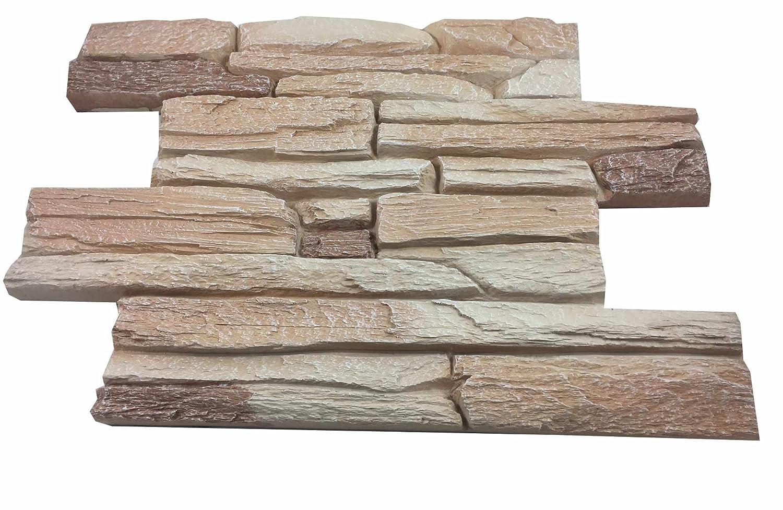 Revestimiento mural en piedra óptica para cocina - terraza - dormitorio - salón | Paneles para paredes mediterráneas de espuma dura | 53cm x 40cm ...