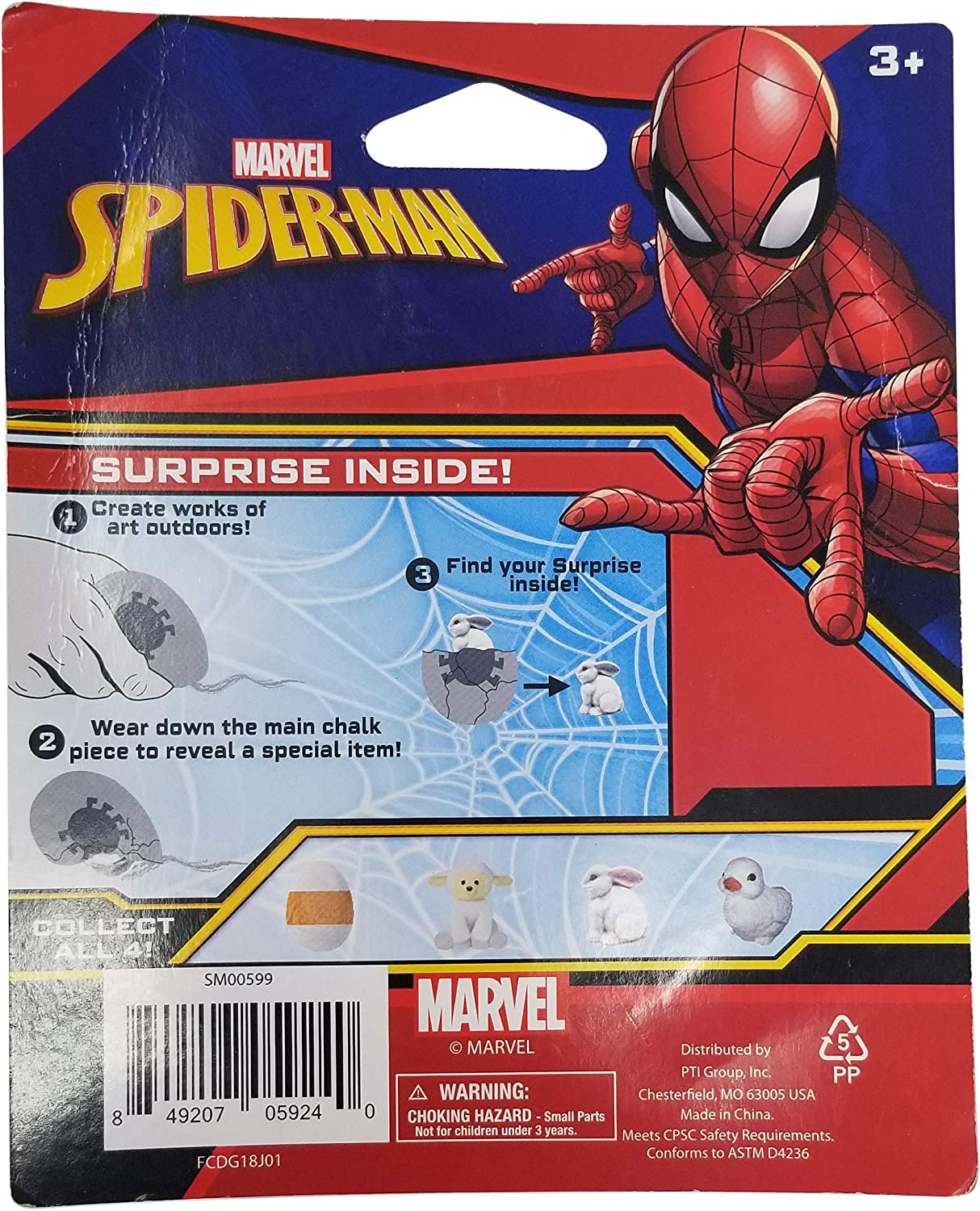 Marvel Spiderman Chalk Surprise Sidewalk Chalk with Toy Surprise Inside!