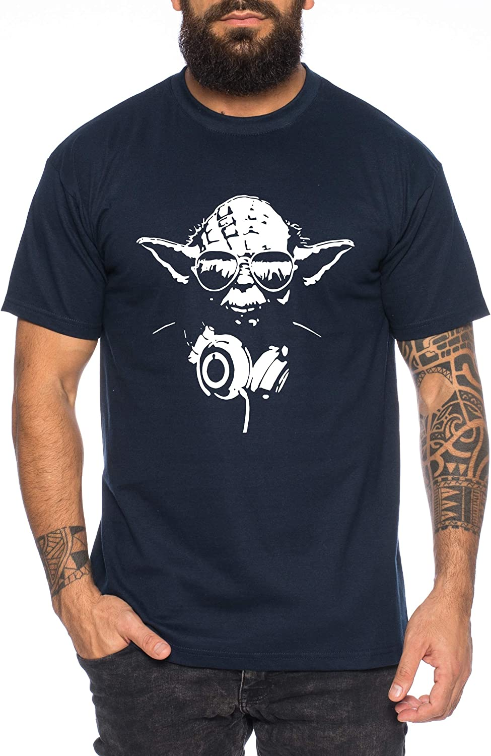 Yoda T-Shirt pour Homme DJ Yoda Jedi Ritter The Empire Turntables Music Rave House Trance Techno Geek
