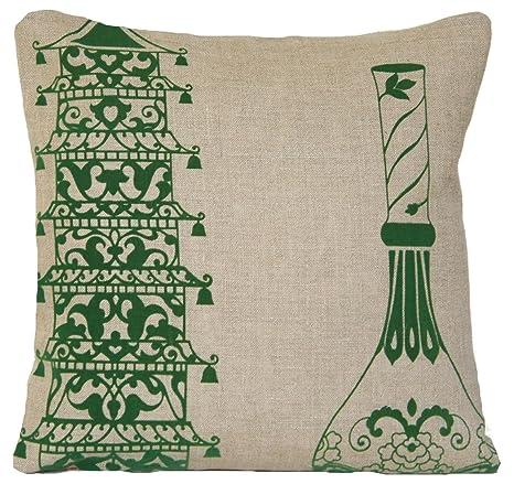 Pagoda y jarrón funda para cojín verde de diseño de almohada ...