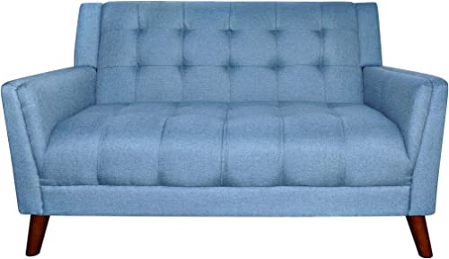 Christopher Knight Home Alisa Mid Century Modern Fabric Loveseat, Blue