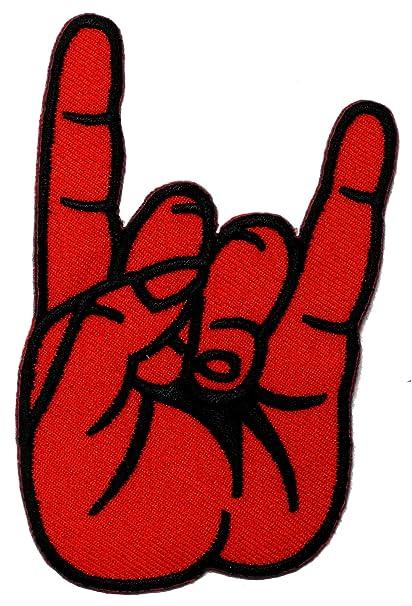Amazon Devil Horn Red Hand Sign Rock Punk Biker Diy Applique