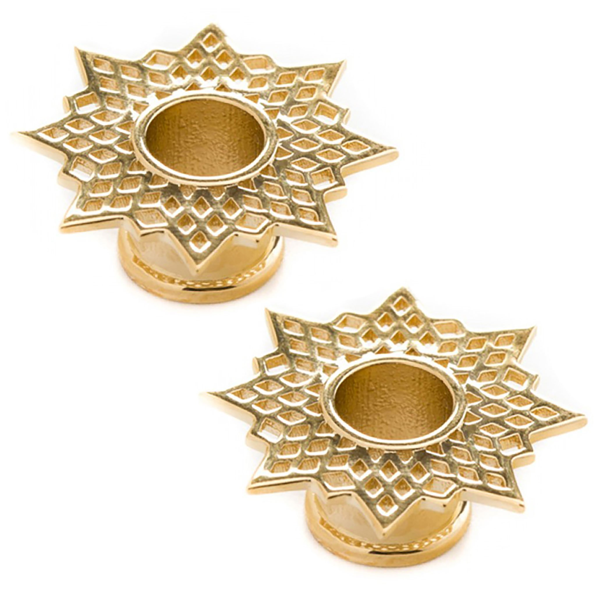 Steel Navel Body Jewelry Pair of Gold Plated Double Flared Supernova Eyelets: 7/16''