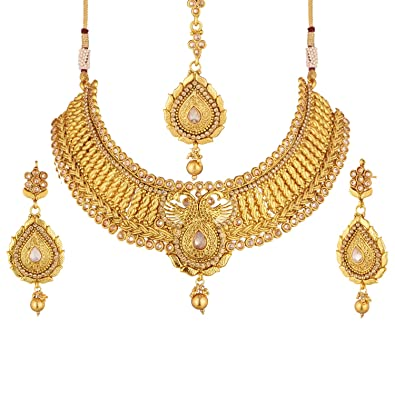 Buy Apara Gold Plated Peacock Design Choker Necklace Set With