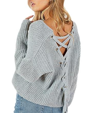 af2aefdf4d57 hodoyi Womens Lace Up Back V Neck Long Lantern Sleeve Knit Pullover Sweater (S