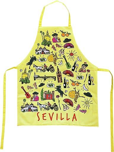 Delantal Amarillo de Cocina con Tela de Algodón Souvenir con Motivos Estampados Típicos de Sevilla Andalucia España. Delantales Unisex de Diseño para Hombres y Mujeres. Disponible en Blanco Amarillo Rojo y Negro: