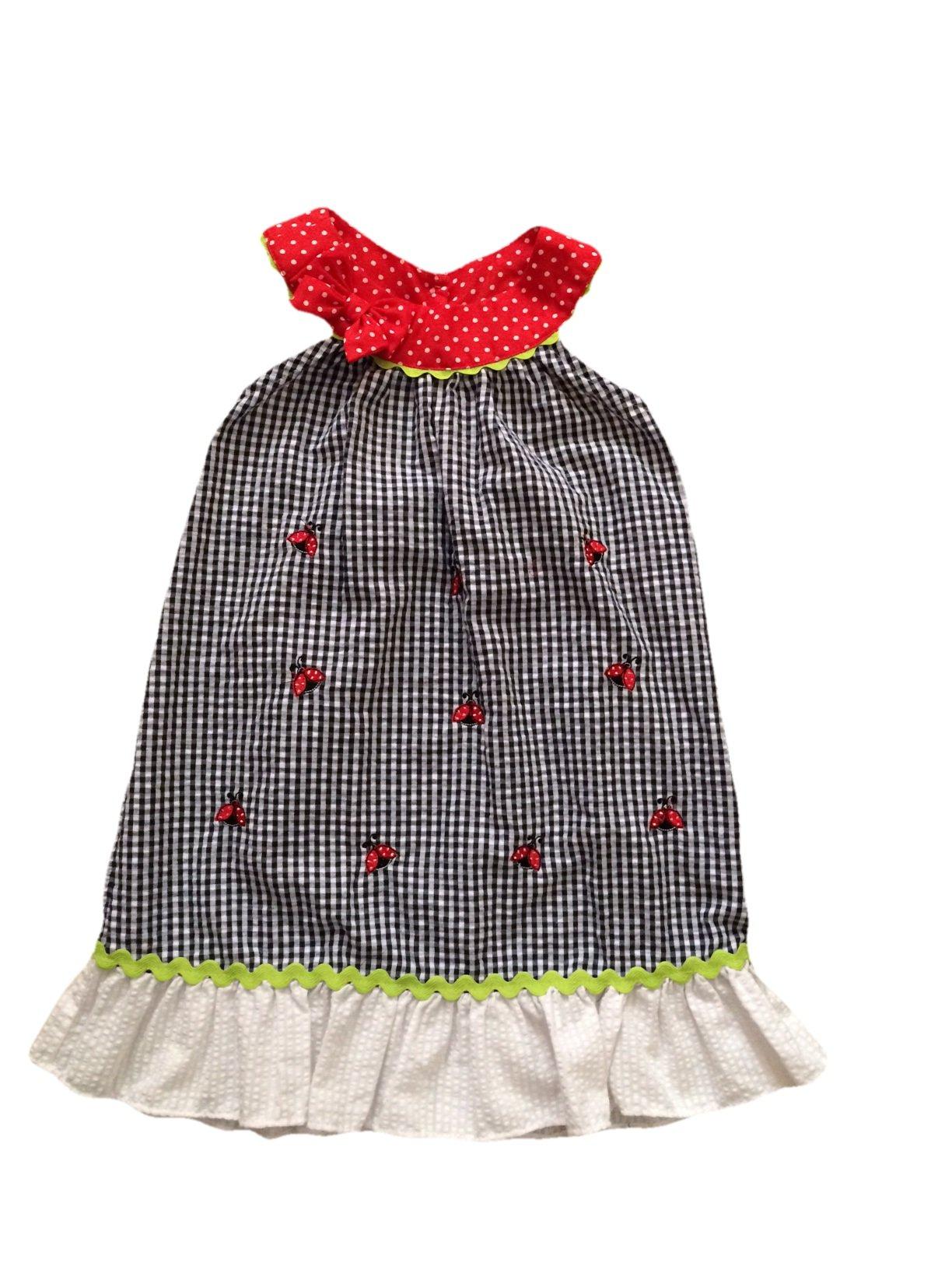 Rare Editions Infant Girls Gingham Ladybug Sundress (Small Red Ladybug, 3T)