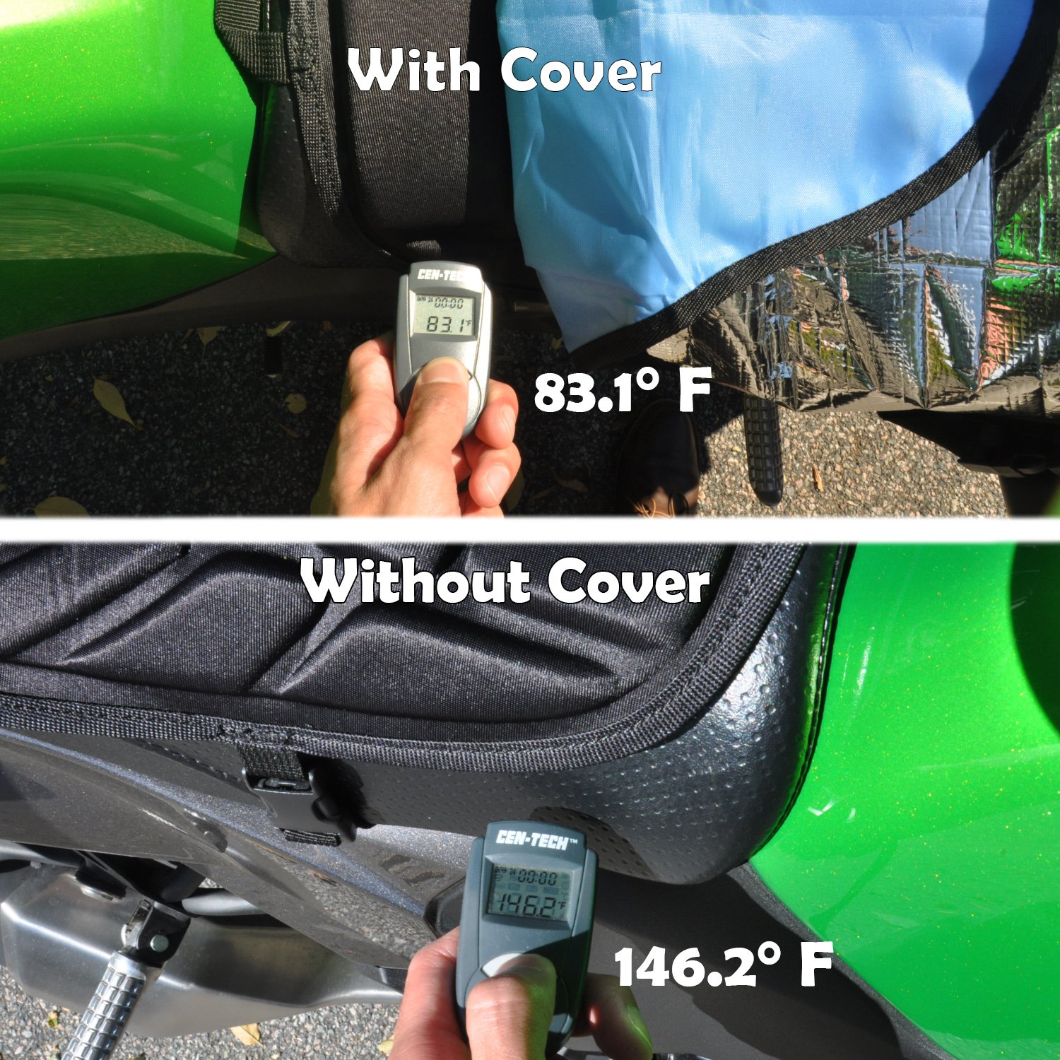 Heat Resistant Shield for a Cooler Motorbike Seat Compact with Nylon Drawstring Bag Sun Reflective Motorcycle Seat Cover by Metier Life Waterproof and Light Resistant Protection