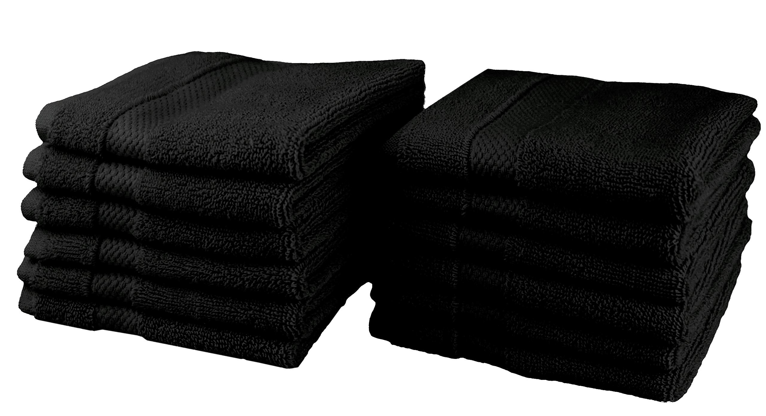 Cotton Craft - 12 Pack Luxuriously Oversized Hotel Wash Cloth - Black - 100% Ringspun Cotton - 13x13 - Heavy Weight 700 Grams - 2 Ply Construction - Highly Absorbent - Easy Care Machine Wash