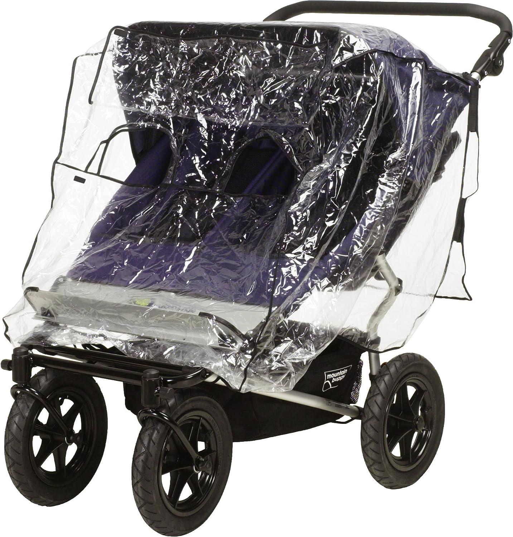 mit Klettverschluss und Gummizug one size Zwillingskinderwagen Regenhaube Playshoes Universal Regenverdeck f/ür Geschwister-Buggy transparent
