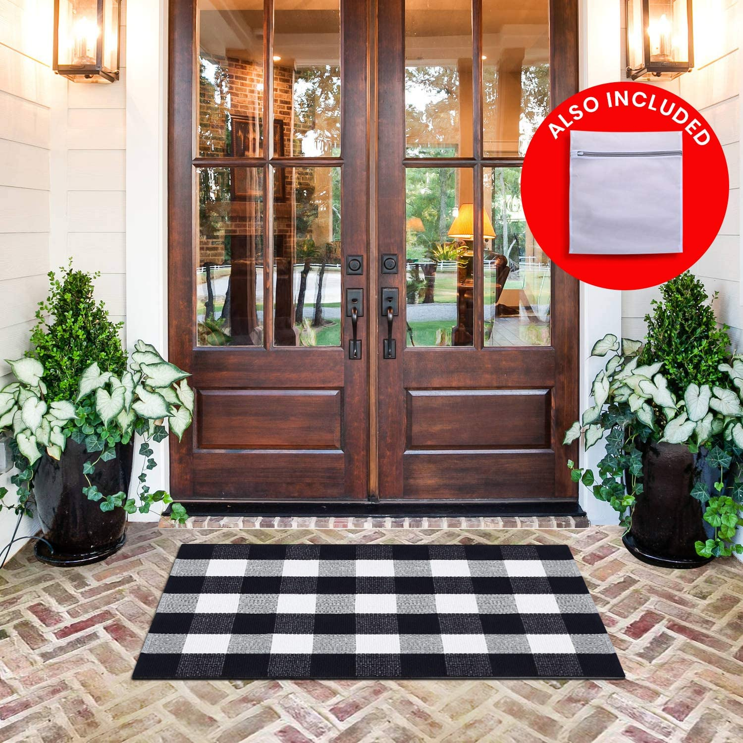 "All Prime Buffalo Plaid Rug - Extra Large 28"" x 44"" Pure Black and White Rug for Indoor & Outdoor - Buffalo Check Rug for Kitchen, Bathroom, Porch Decor- Buffalo Plaid Front Door Mat with Laundry Bag"