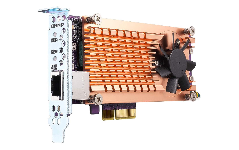 QNAP QM2-2P10G1TA Pci-E Expansion Card with 2 x PCIe 2280 M.2 SSD Slots PCIe Gen2 X 4 1 X AQC107S 10GbE Nbase-T Port