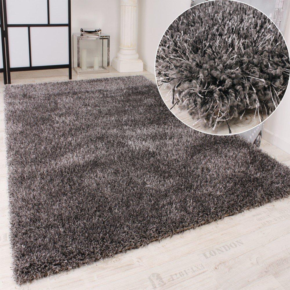 PHC Shaggy Teppich Hochflor Langflor leicht Meliert Qualitativ u. Preiswert Uni Grau, Grösse 200x290 cm