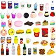 50 Pcs Miniature Food Drink Bottles Soda Pop Cans Pretend Play Kitchen Game Party Accessories Toys Hamburg Cake Ice Cream for