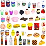 50 Pcs Miniature Food Drink Bottles Soda Pop Cans Ice Cream for 1/12 Doll House