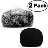ChromLives H1 Windscreen Microphone Furry Windscreen Muff Wind Cover + Foam Microphone Windscreen Cover for Zoom H1 H1n Apogee Mic and More, Furry & Foam 2Pack