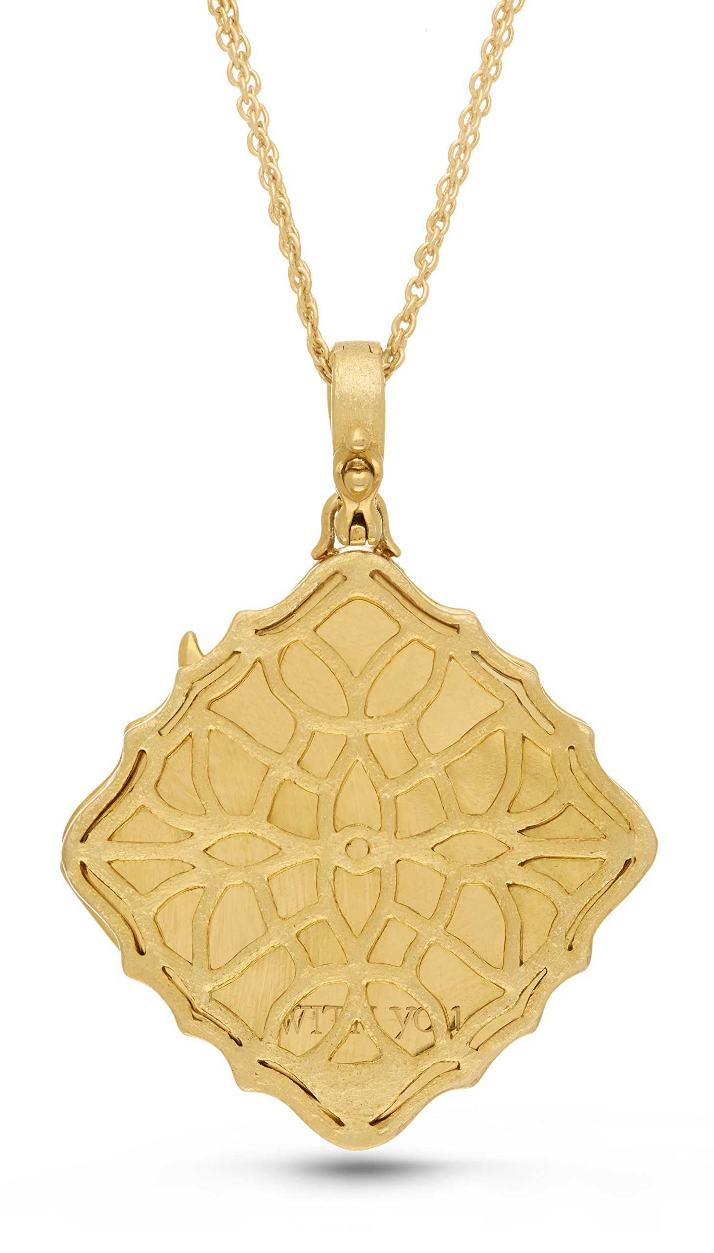 With You Lockets Yellow Gold-Diamond-Square-Custom Photo Locket Necklace-22-inch chain-The Mimi by by With You Lockets (Image #3)