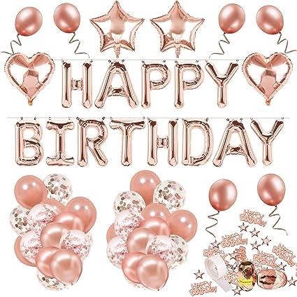 Decoración de cumpleaños 18 en oro rosa, feliz cumpleaños Decoración guirnalda Banner de cumpleaños para fiesta con globos y globos de confeti y globos de aluminio de corazón para niñas y mujeres