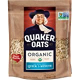 Quaker Quick 1-Minute Oats, USDA Organic, Non GMO Project Verified, 24oz Resealable Bags (Pack of 4)