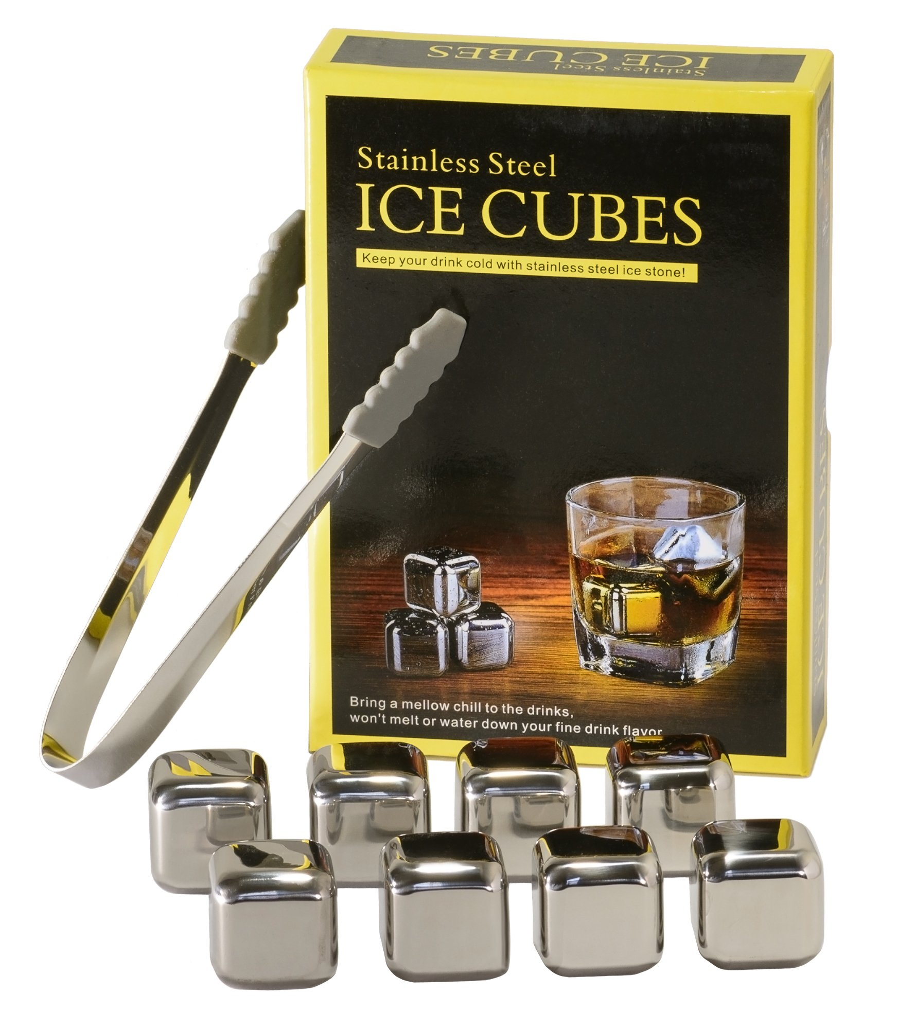Stainless Steel Chilling Cubes for Spirits, Soda and Other Beverages – Set of 8 + Silicone Tipped Tongs – Gift Box